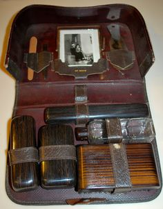 Vintage 1930's Men's Travel Shaving Vanity Toiletry Leather Kit Frame Old Photo on Etsy, $49.95