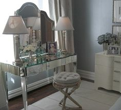 "Vanity of my dreams. This look was designed by Nancy Corzine for ""Inspired Designs: A Showhouse Celebrating Extraordinary Women"". Her inspiration for this incredible boudoir, the great Grace Kelly."