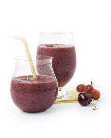 Protein-rich tofu gives this drink a thick and creamy texture, and frozen blueberries, cherries, and grapes deliver deep flavor and additional antioxidants. Rooibos tea, grown in South Africa, adds an herbaceous sweetness to this fruit smoothie without the caffeine found in other teas.