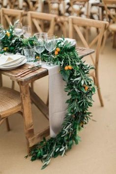 Stunning Non-Floral Wedding Centerpieces Ideas ★ non floral wedding centerpieces greenery tablerunner and citrus amy fanton photography