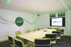 Vibrant office, boardroom and meeting room design www.jbhrefurbishments.co.uk