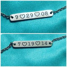 This customer's husband surprised her with a personalized Engravable Horizon Necklace – on one side is the date they started dating and the other the date they got married. This is such a great idea! #JamesAvery