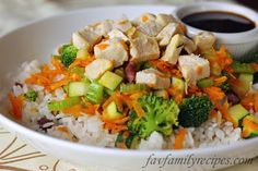 Rumbi Rice Bowls with Rumbi Rice - one of my favorite Utah places to eat!  This recipe turned out SO GOOD!  My boys even ate everything on their plate including the vegies!  VERY GOOD and not to hard to make.  Will make this again.
