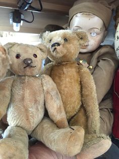 Antique chad valley bear, steiff ff bear and a one of a kind light bulb military doll❤️