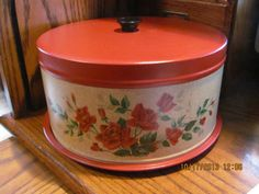 Vintage Cake Carrier Saver Red Painted Metal Tin Roses Retro.