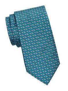 Saks Fifth Avenue Elephant Print Silk Tie In Teal Elephant Print, Saks Fifth Avenue, Silk Ties, Teal, Turquoise