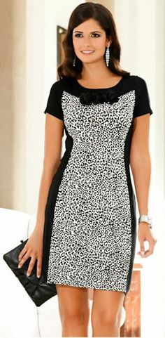 Vestido que estiliza la figura - Herren- und Damenmode - Kleidung Beautiful Dresses, Nice Dresses, Casual Dresses, Short Sleeve Dresses, Diy Fashion, Fashion Dresses, Womens Fashion, Fashion Design, Mode Batik