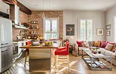Uma ideia boa para apartamentos pequenos: cozinha integrada com a sala   Casa&Cozinha
