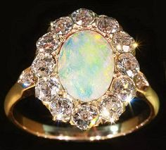Antique Opal Diamonds Engagement Ring