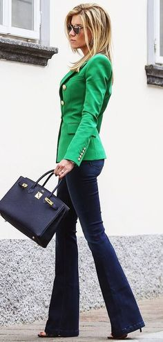 business+style+obsession+/+green+blazer+++bag+++jeans+++heels