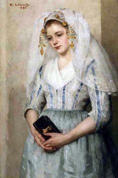 Thérèse Schwartze (Dutch painter) 1851 - 1918, Bruidje uit Oud-Beijerland (Bride from Oud-Beijerland), 1895, oil on canvas, 110 x 74 cm