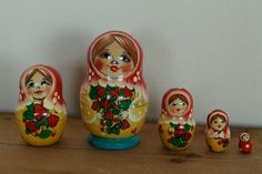 Nesting  Matryoshka  dolls with strawberries babushka by sersonart