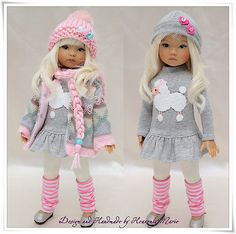 """Pink & Gray Outfit Set for Dianna Effner 13"""" Little Darling by Heavenly Marie"""
