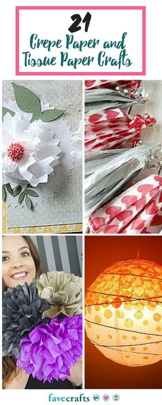 Learn how to make tissue paper flowers, crepe paper flowers and even more tissue paper crafts in this lovely colleciton.