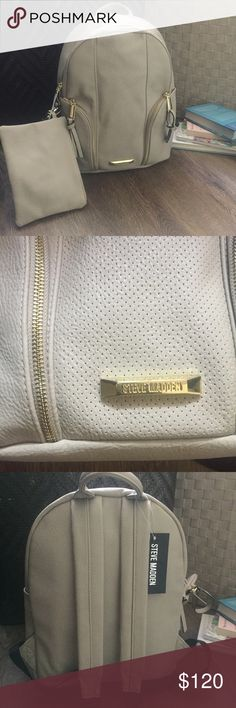 """NEW Steve Madden Backpack Tan/Bisque Brand New with tag! Gorgeous Steve Madden backpack with bonus wristlet! 😍 This is a medium size backpack perfect for traveling, school, and everyday wear! The color is listed as """"Bisque"""", with gold zippers. Adjustable straps. Steve Madden Bags Backpacks"""