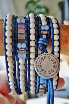 WHITE TURQUOISE & TILAS 4 to 5 Wrap by BraceletsofBlueRidge, $78.00