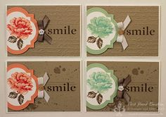 handmade note cards  from First Hand Emotion: IN {K} SPIRE_me Challenge # 119 ... kraft panel with and off-the-side focal point ... windows framelit with large flower ... two colors and two background treaents ... luv the large word SMILE stamped in brown ... great cards!! ... Stampin' Up!