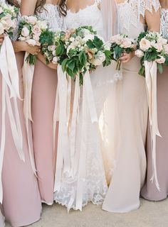 Notice long white ribbons with the bouquet. Mauve Bridesmaid Dresses with Lace Ribbon Bouquets Elegant Wedding, Rustic Wedding, Mauve Wedding, Magical Wedding, Free Wedding, Party Wedding, Wedding Bridesmaids, Bridesmaid Dresses, Simple Bridesmaid Bouquets