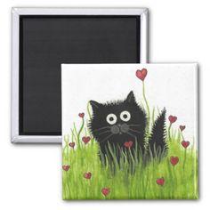 Curious Ktties Series from my Original Paintings. #magnet #template #black #cat #valentine #hearts #love #amylyn bihrle