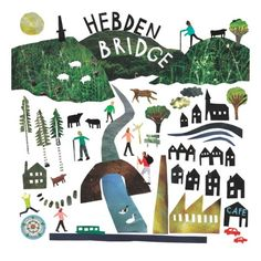 Hebden Bridge card made from magazine cut outs #hebdenbridge #collage #louiselockhart #illustration #town #walking