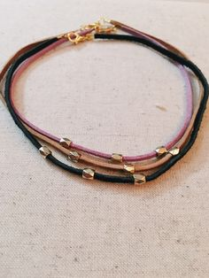 The Lilac Choker with Gold Accent- 14 inches+ with extender available in BLACK & TAN by ByCarlyeBoutique on Etsy https://www.etsy.com/listing/446525400/the-lilac-choker-with-gold-accent-14
