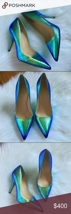 Kate Spade Blue Hologram Pumps New without box. Size 10.  Does come with dustbag.  Bundle discount not valid on these. Shoes Heels