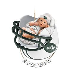 """Personalized """"Jets Fan"""" Baby's First Christmas Ornament"""