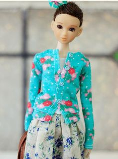 SugarBabyLove - Blue cardigan for Momoko - doll outfit