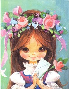 Vintage 70s postcard of a Big Eyed Girl by Yvon