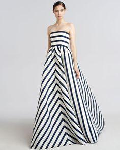 Wait...is it navy or black????   Oscar De La Renta Strapless Striped Gazar Gown in Blue (navy ivory)