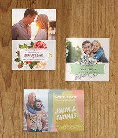 Lag personlige hold-av-dagen-kort med et bilde av det lykkelige paret.