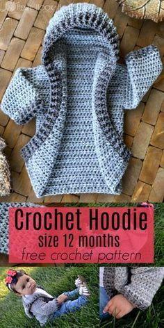 Crochet baby hoodie free pattern #babyhoodie