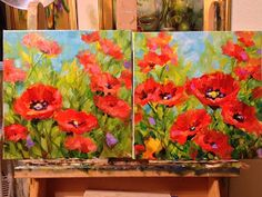 Nancy Medina Art: Surrounded - Red Poppy Painting by Texas Flower Artist Nancy Medina