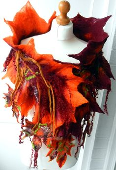 sale  sale  felted woman ART scarf  ,shawl-AUTUMN KISS-