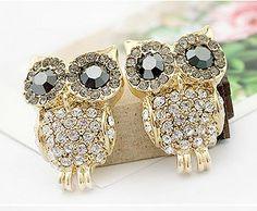 Cute Shining Rhinestone Owl Earring Studs|Fashion Earrings - Jewelry&Accessories- ByGoods.com