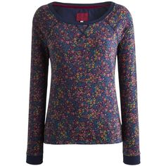 Joules Melling Floral Sweatshirt, Navy Ditsy ($31) ❤ liked on Polyvore featuring tops, hoodies, sweatshirts, blue sweatshirt, navy tops, blue top, sweatshirts hoodies and lightweight sweatshirt