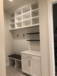 Mudroom with white shiplap Mud Room Garage, Mudroom Laundry Room, Desk Nook, Laundry Room Inspiration, White Shiplap, Entryway Storage, Paint Colors For Living Room, Interior Design Living Room, Drop Zone