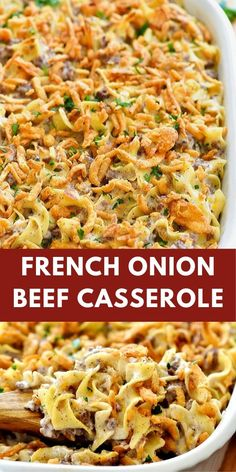 French Onion Beef Casserole This french onion beef càsserole will win heàrts àll àround the dinner tàble. It is delicious, full of flàvor ànd so comforting! Beef Dishes, Food Dishes, Main Dishes, Beef Casserole Recipes, Casserole Dishes, Casserole Kitchen, Ground Beef Casserole, Le Diner, Pasta