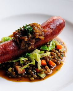 This rustic Toulouse sausage recipe from Dominic Chapman may appear simple, but great care is put into each element to extract the maximum amount of flavour. Serve with a slice of crusty bread to make this dish even more appealing.