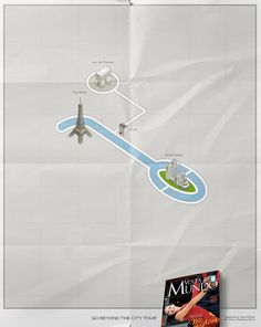 The Print Ad titled Paris was done by DraftFCB Lisbon advertising agency for Volta Ao Mundo in Portugal. Paris Map, London Map, Advertising Poster, Advertising Design, Ad Of The World, Travel Magazines, France, Conceptual Art, Print Ads