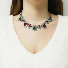 Ben-Amun - Velvet Glamour Multi-Color Ornate Crystal Necklace (pewter, antique silver plating, Swarovski crystal, Czech glass stone, lobster claw closure)