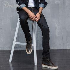 New Arrival!Black Jeans pants Men Fashion Full Length Distressed Jeans Denim Cotton Mens Straight Jeans trousers