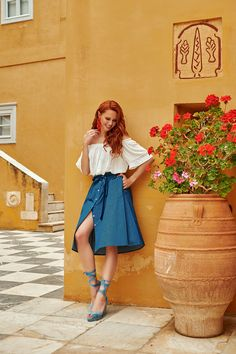 Famous Fashion Blogger, Evelyn Kazantzoglou travels in Hydra Island, Greece with Lynne! Unique Outfits, Greece, Feminine, Fashion Outfits, Island, Red, Inspiration, Clothes, Shopping