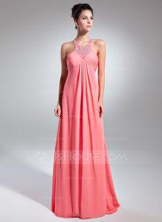 Empire Scoop Neck Sweep Train Chiffon Holiday Dress With Ruffle Beading (020025957) - JJsHouse