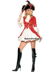 costume pirata rosso donna halloween carnevale cosplay ABITO CAPPELLO tagl  unica donna halloween rosso adcc15b532c