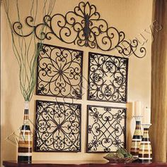Large Coffee Wall Art | Details about S/4 Square Wrought Iron WALL GRILLE Decor Medallions