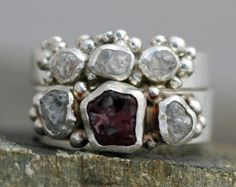 Raw Garnet Crystal and Rough Diamond Sterling Silver Ring Two Ring Set- Custom Made January Birthstone