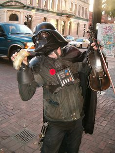 Here's a photo I took of Darth Fiddler pretending to drink yerba mate out of my guampa while I was exploring around Victoria, British Columbia