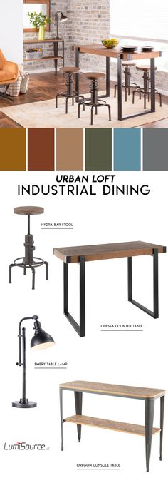 Love this look! Urban Loft: Industrial Dining by LumiSource! The Odessa Counter Table is paired with the Hydra Barstool and accent by the Oregon Console Table and Emery Table Lamp. Console Table, Table Lamp, Dining Table, Decorating Your Home, Interior Decorating, Loft Kitchen, Kitchen Layout, Kitchen Design, Industrial Dining
