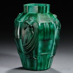 Schlevogt Art Deco Malachite Glass Vase | Sale Number 2661B, Lot Number 376 | Skinner Auctioneers